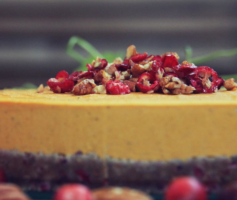 Autumn Pumpkin Pie with Cranberry Pecan Crust