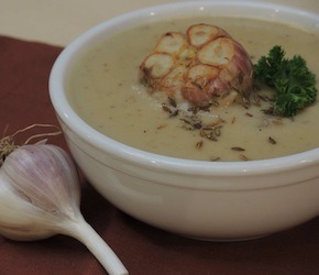 Cauliflower Soup with Roasted Garlic and Cumin seed