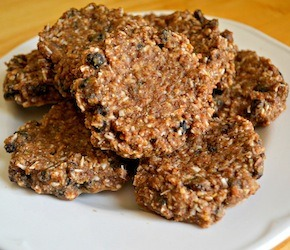 No Bake Flax Cinnamon Raisin Cookies