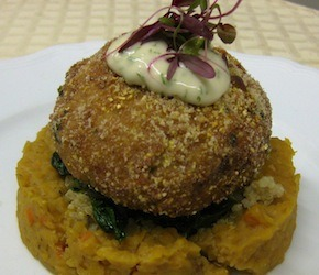 Tempeh Croquettes and Red Lentil Ragout