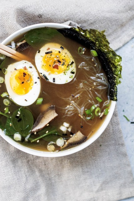 Mushroom Miso Soup with Kelp Noodles