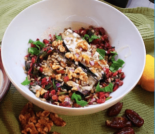 Warm Lentil, Beet & Spinach Salad with Roasted Eggplant