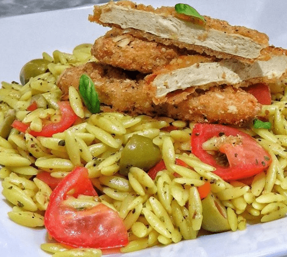 Mediterranean Orzo with Meat-free Crispy Tenders